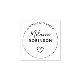 Cute Heart | Handmade With Love By Custom Name Rubber Stamp