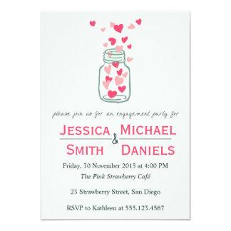Cute Heart Jar - Engagement Invitations