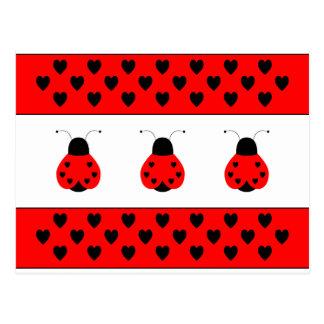 Cute Heart Ladybug Valentine Postcard