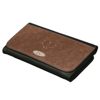 Cute Heart Leather Look Personalized  Wallet