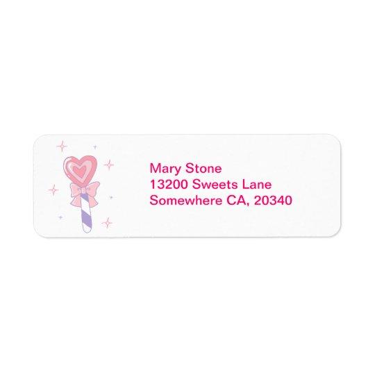 Cute Heart Lollipop Return Address Label