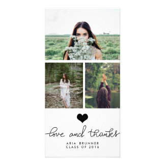 Cute Heart Love And Thanks Typography Graduate Customised Photo Card