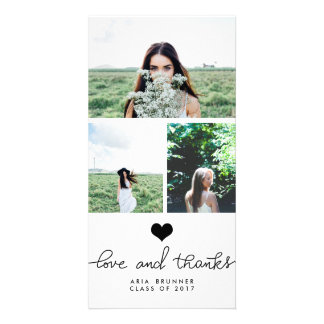 Cute Heart Love And Thanks Typography Graduate Personalised Photo Card