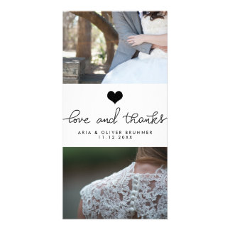 Cute Heart Love And Thanks Typography Wedding Customized Photo Card