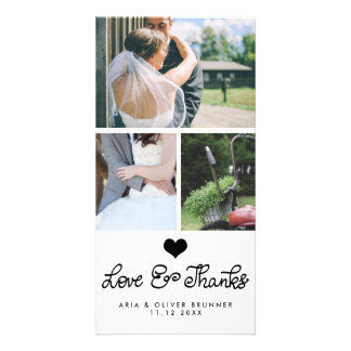 Cute Heart Love And Thanks Typography Wedding Photo Cards