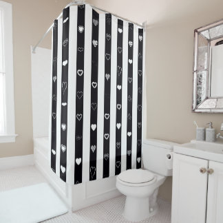 Cute Heart Modern Black White Stripe Shower Curtain