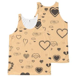 Cute Heart Modern Dark Gray All-Over Print Singlet