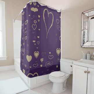 Cute Heart Modern Dark Purple Shower Curtain