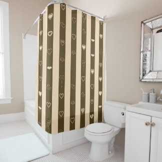 Cute Heart Modern Donkey Brown Stripe Shower Curtain