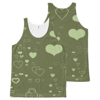 Cute Heart Modern Green All-Over Print Singlet