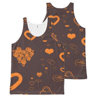 Cute Heart Modern Orange All-Over Print Singlet