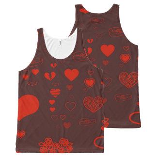 Cute Heart Modern Orange Red All-Over Print Singlet