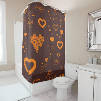 Cute Heart Modern Orange Shower Curtain