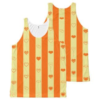 Cute Heart Modern Orange Stripe All-Over Print Singlet
