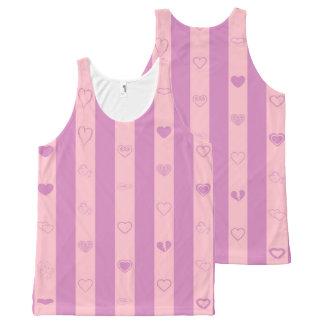 Cute Heart Modern Pink Purple Stripe All-Over Print Singlet