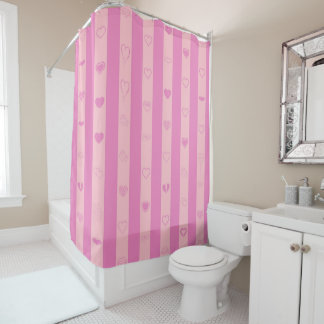 Cute Heart Modern Pink Purple Stripe Shower Curtain