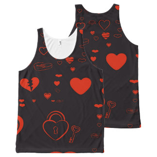 Cute Heart Modern Red All-Over Print Singlet