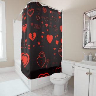 Cute Heart Modern Red Shower Curtain
