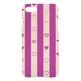 Cute Heart Modern Royal Fuchsia Stripe iPhone 8/7 Case