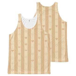 Cute Heart Modern Tan Stripe All-Over Print Singlet