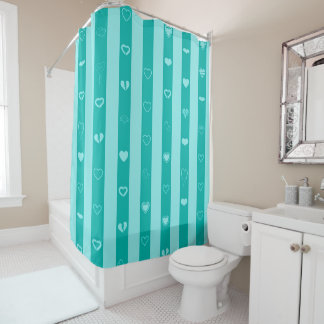 Cute Heart Modern Turquoise Stripe Shower Curtain