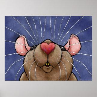 Cute Heart Rat Poster