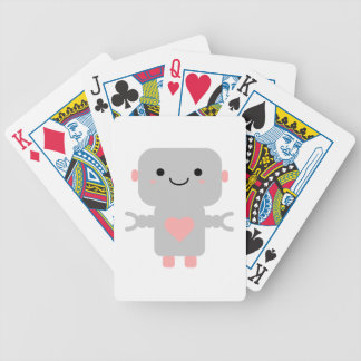 Cute Heart Robot Bicycle Playing Cards