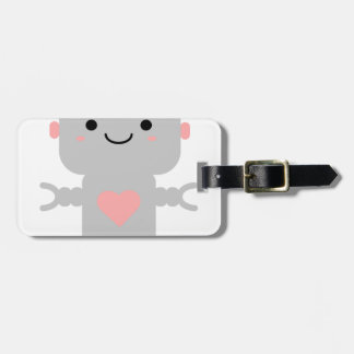 Cute Heart Robot Luggage Tag