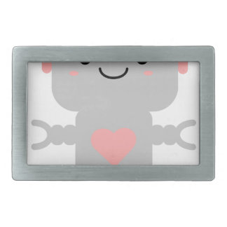 Cute Heart Robot Rectangular Belt Buckle
