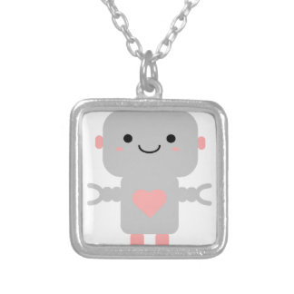 Cute Heart Robot Silver Plated Necklace