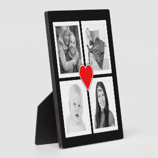 Cute Heart with Four Photos Custom Plaque