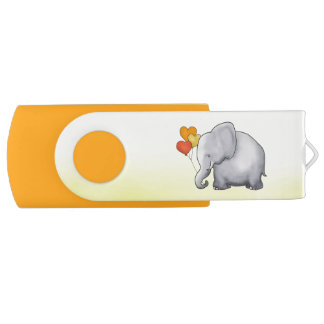Cute Hearts Balloons Elephant Neutral Baby Shower USB Flash Drive
