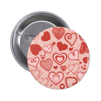 Cute Hearts Doodles Love Valentine s Day Pattern Pin