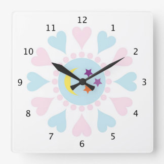 Cute hearts, moon and stars baby girls or boys square wall clock