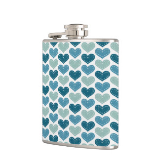 Cute Hearts  Stripes and Bow Hip Flask