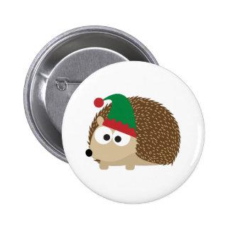 cute Hedgehog Christmas Elf Pinback Button