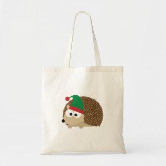 cute Hedgehog Christmas Elf Budget Tote Bag