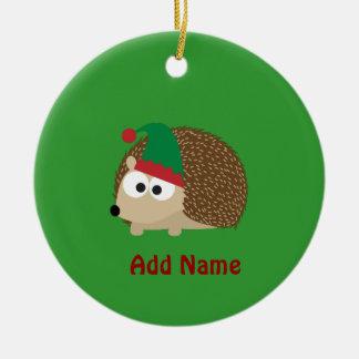 cute Hedgehog Christmas Elf Round Ceramic Decoration