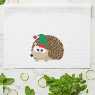 cute Hedgehog Christmas Elf Hand Towels