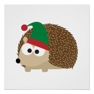 cute Hedgehog Christmas Elf Perfect Poster