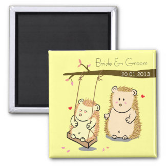 Cute Hedgehog couple at tree swing wedding favor Square Magnet