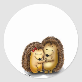 Cute Hedgehog Couple - Mr. and Mrs. Customise Classic Round Sticker
