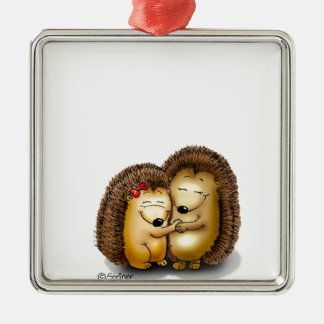 Cute Hedgehog Couple - Mr. and Mrs. Customise Silver-Colored Square Decoration