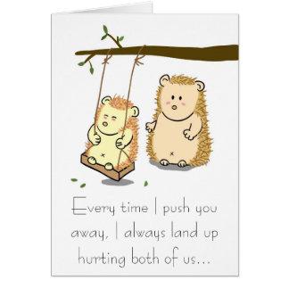 Cute Hedgehog couple on Tree Swing Apology Card