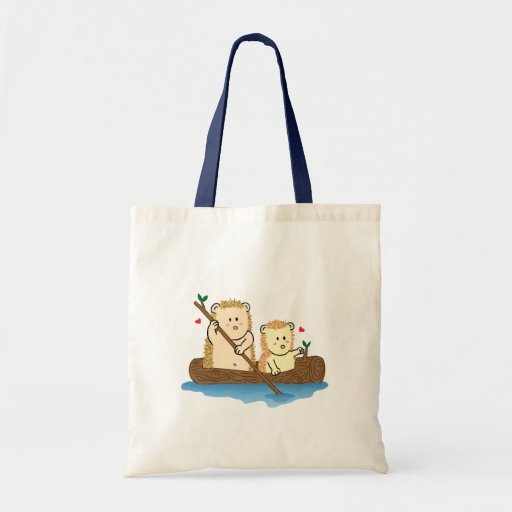 Cute Hedgehog couple sailing on wooden boat Bags