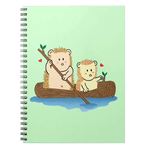 Cute Hedgehog couple sailing on wooden boat Spiral Notebook