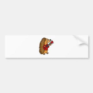 Cute Hedgehog Playing Guitar Art Bumper Sticker