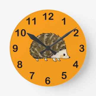 Cute hedgehog round clock