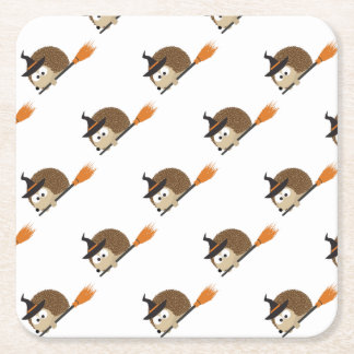 Cute Hedgehog Witch Square Paper Coaster