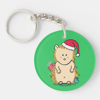Cute Hedgehog with Christmas Hat Double-Sided Round Acrylic Key Ring
